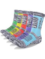 YUEDGE Women's 5 Pairs Wicking Breathable Cushion Casual Crew Socks Outdoor Multi Performance Hiking Trekking Walking Athletic Socks