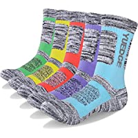 YUEDGE Women's 5 Pairs Wicking Breathable Cushion Casual Crew Socks Outdoor Multi Performance Hiking Trekking Walking Athletic Socks