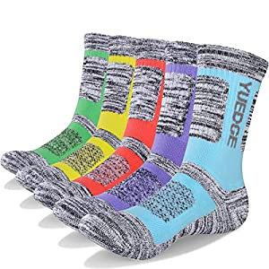 51eVL PNKsL. SS300  - YUEDGE Women's 5 Pairs Wicking Breathable Cushion Casual Crew Socks Outdoor Multi Performance Hiking Trekking Walking Athletic Socks