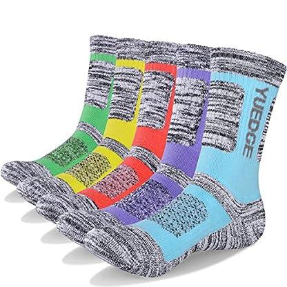 YUEDGE Women's 5 Pairs Wicking Breathable Cushion Casual Crew Socks Outdoor Multi Performance Hiking Trekking Walking Athletic Socks 1
