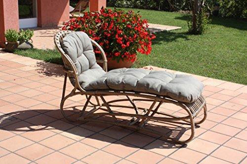 Lettino design stile vintage in giunco naturale, con cuscino intero - arredo per esterno a prezzi outlet