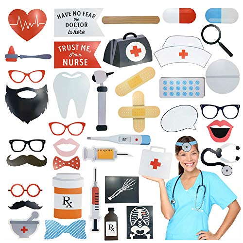 Sayala 40Stück Krankenschwester Graduation Photo Booth Requisiten - DIY große Abschluss Dekorationen Kits für 2019 Graduation Party Supplies, Doktor Nurse Graduation Party Supplies Theme (Foto Für Requisiten Partys)