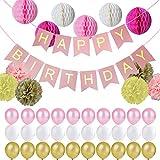 Jingxu Geburtstag Party Dekoration,Happy Birthday Girlande mit Perle Latex Luftballonsund Wabenbälle Papier und Seidenpapier Pompoms für Mädchen und Jungen Jeden Alters Kindergeburtstag Deko - Rosa
