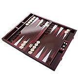 GrowUpSmart Backgammon-Set Klassiker 35cm, faltbares Brettspiel mit 30 Steinen, Verdopplungswürfel, Würfeln [Stabil, Portabel, Retro-Design], Vergnügen für Kinder oder Erwachsene