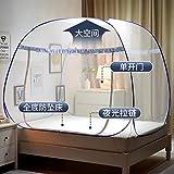 Tragbare Falten Moskitonetz MongolianInsert Mesh Erwachsene Betthimmel Kids Moustiquaire Blau Faltbares Zelt Bett klamboe Netze, Blau, 1,8 m (6 Fuß) Bett