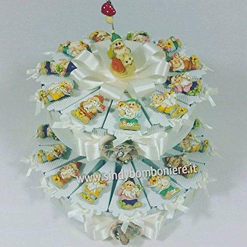 Torta bomboniera con gnomi portafortuna nascita, battesimo comunione cresima compleanno (torta da 35 fette)
