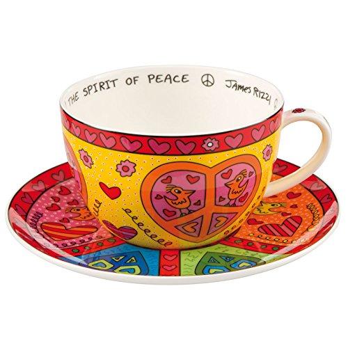 of Peace - Cappuccino Tasse mit Untertasse - James Rizzi - Bone China Porzellan 0,5 l ()