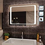 SIRHONA 90x60cm Miroir de Salle de Bains avec éclairage à LED Mirror Cosmetic...