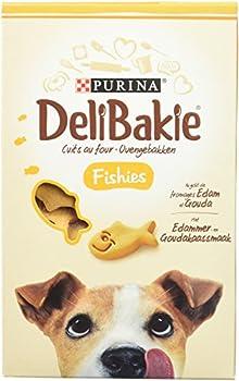 DELIBAKIE Fishies, au Goût de fromages Edam et Gouda - 290 g - Biscuits pour Chiens - Lot de 6