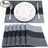 Placemats Set of 6 Washable Heat Insulation Non-slip Woven Vinyl Table Mats for Kitchen and Dining Room (Black/Gray) By Fanuk