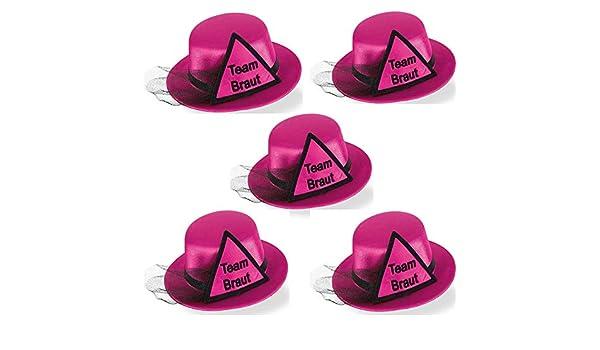 Pink Party-Teufel Mini Hut Aufschrift Braut oder Team Braut mit Brautschleier und Haarclips Accessoire Junggesellenabschied