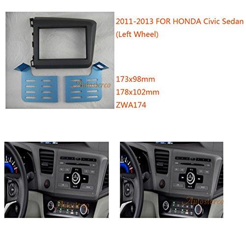 Zwnav Car Audio Radio Cadre de montage panneau de façade d'autoradio pour Honda Civic berline 2011-2013 (Roue gauche) stéréo Façade d'autoradio Dash CD Trim Kit d'installation