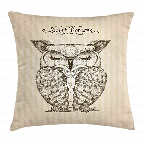 Sweet Dreams Eye Pillow (HLKPE Quote Throw Pillow Cushion Cover, Sketched Illustration of a Sleeping Owl with Sweet Dreams Message, Decorative Square Accent Pillow Case, Dark Brown Champagne and Tan,24 X 24 Inches)