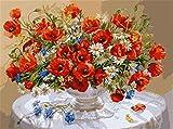 XiangRuima Rote Blume DIY digitales Malen nach Zahlen mit innerem hölzernem gestaltetem 40x50cm Installationssatz-Farbton-Lack nach Zahlen für Kindergeschenk
