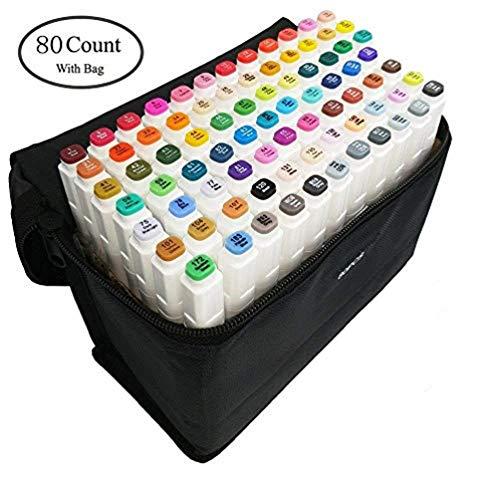 AVNTEN marqueurs permanents,Marker Lot de 80 marqueurs à feutre alcool double pointe Animation Art Esquisse (Boîtier blanc)