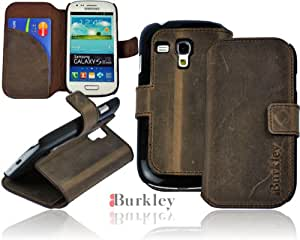 Burkley BOOK-G6-i8190 Premium Leder Book Flip Case für Samsung Galaxy S3 Mini i8190 mit Standfunktion grau