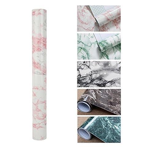 KINLO 10*0.61M Papier Peint Autocollant Pierre Rose Sticker Meuble Imperméable en PVC Sticker Cuisine Adhésif pour Armoire Porte Placard Cuisine Carreaux Salle de Bain