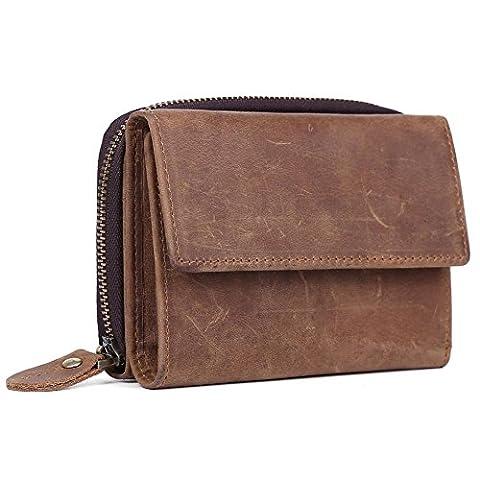 Tiding Men's Vintage Genuine Leather Trifold Zipper Clutch Bifold Leisure Organizer Card Holder Slot Wallet Brown