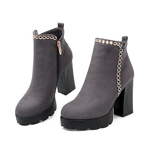 VogueZone009 Damen Eingelegt Hoher Absatz Rund Zehe PU Leder Stiefel mit Metalldekoration, Schwarz, 40