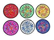 Posavasos 6 unidades y 6 colores diferentes,bordados etnico,13 cm aproximadamente,moda de tendencia ,muy de moda
