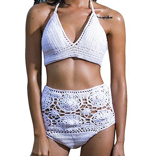 Italily - Vendita calda !!! 2017 Costume da bagno Bohemian bikini da donna estate Costume da bagno reggiseno Swimwear Swimwear da donna realizzato a mano in Bohemian Push-Up White