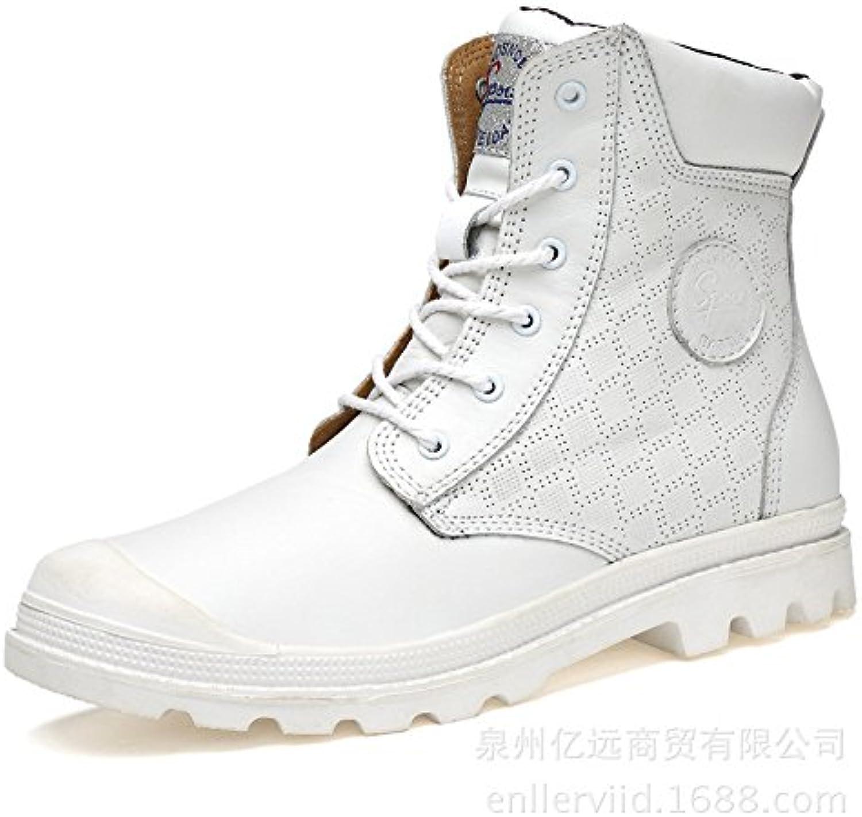 ZQ@QXWinter casual Herren Leder Martin Stiefel warme Stiefel aus Baumwolle