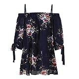 Damen Shirt, MOIKA Damen Long Sleeve Blumendruck Schulter Top (3XL, Marine)