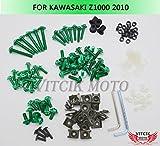 VITCIK Kit completo di carenatura viti bulloni per Kawasaki Z1000 2010 10 Serraggio per moto, clip in alluminio CNC (Verde)