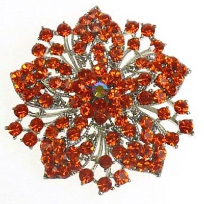 Brooches Store grande cristallo arancione Fiore Spilla a forma di fiocco