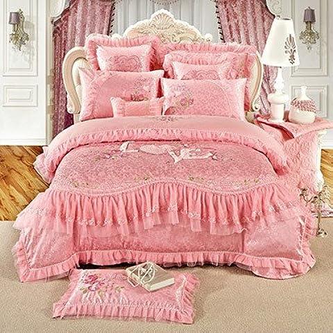 set di biancheria da letto ricamata rosa