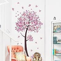 Weaeo Grandes Flores De Cerezo Rosa Árbol Adhesivo Pared Mariposas Vinilo Adhesivo Arte Niñas Dormitorio Salón Decoración Mural Decorativo