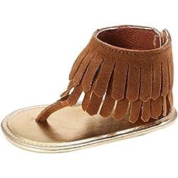 Tefamore Zapatos Sandalias de Borla de recién nacido Suela blanda Antideslizante para niños pequeños Bebé Sneakers (13, Marrón)