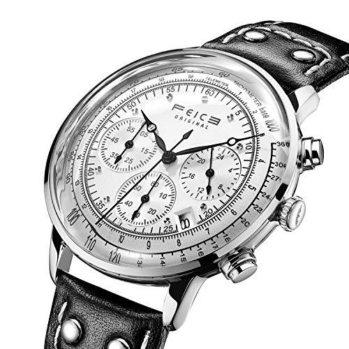 FEICE Reloj de pulsera de Cuarzo Japonés Reloj Multifunción Cronógrafo Reloj Ultrafino y Ligero Relojes...