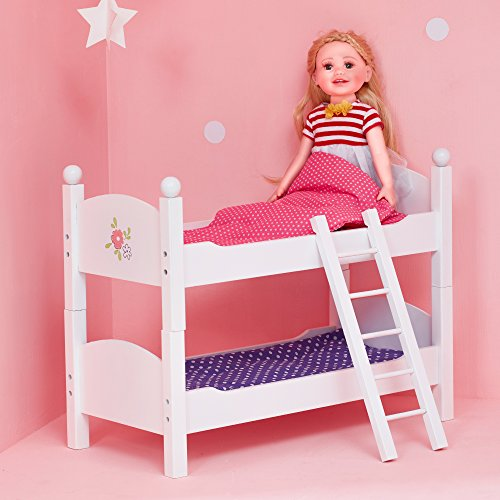 "Olivia's Little World - Princess 18"" Doll Double Bunk Bed (White) 