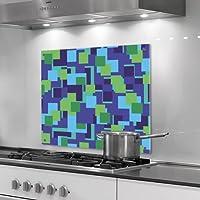 Küchenrückwand aus Plexiglas - Motiv: grüne Quadrate - Format 60 x 60 cm - stylischer Wandschutz und Spritzschutz für Herd, Küche und Kochbereich - ohne Bohrlöcher (Silikonverklebung)