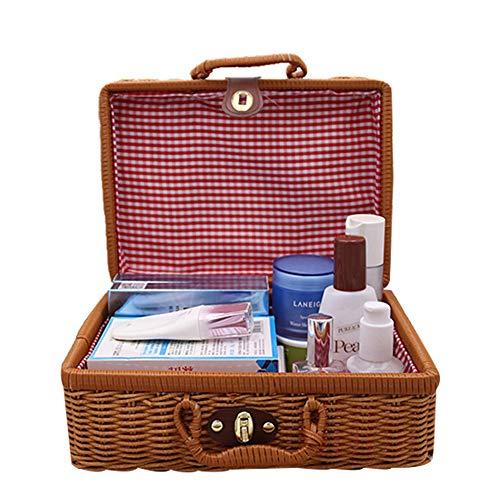 ZZZM Rattan Aufbewahrungsbox mit Deckel Kosmetiktasche Kosmetiktasche Kosmetikkoffer Kosmetikkoffer Kosmetikbox Handgemachte Bambus-Picknickkorb Korb gewebt Koffer Box, Large