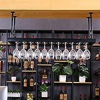GJBJ-Wine Racks Cubilete Portavasos Suspensión Copa de Vino Estante Estante Colgante de Hierro Titular de Rack Techo Decoración Bar (Color : Negro, tamaño : 80 * 35cm)
