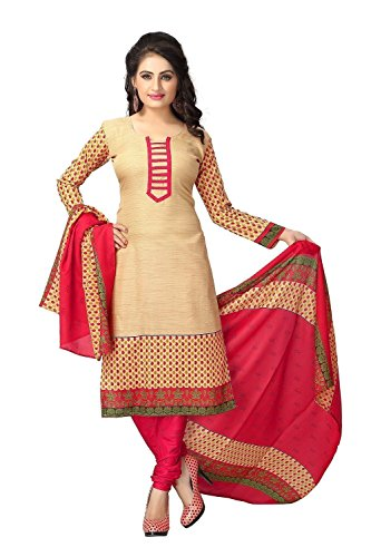 Shiroya Brothers Women's Printed Unstitched Regular Wear Salwar Suit Dress Material(JC_DM_Beige)  available at amazon for Rs.199
