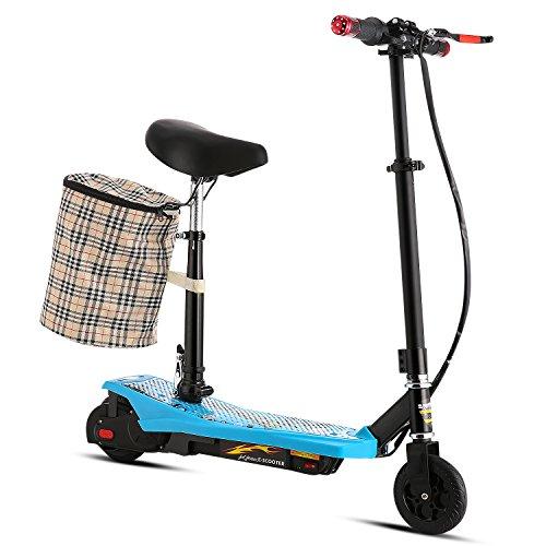 AMDirect Patinete Eléctrico E-Scooter Plegable con Manillar y Asiento Altura Ajustable Cesto Desmontable con 2 Ruedas para Adolescentes (Azul)