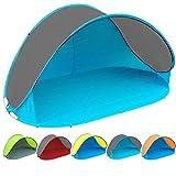 Pop Up Strandmuschel mit Boden UV-Schutz 40 oder 60 - 220 x 120 x 100 - cm in verschiedenen Farben (Türkis / Anthrazit UV60)