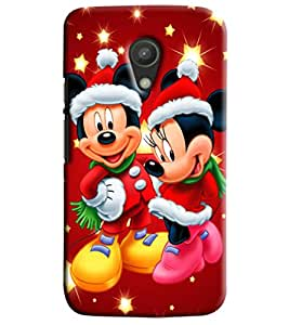 Blue Throat Micky And Mini Mouse Hard Plastic Printed Back Cover/Case For Moto G2
