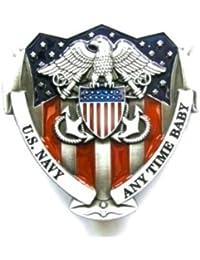 U.S NAVY - Boucles de ceinture Belt Buckle Embleme Marine Militaire  Americaine - metal argente   83b70bf20b7