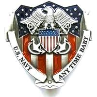 U.S NAVY - Boucles de ceinture Belt Buckle Embleme Marine Militaire  Americaine - metal argente   d3b41be6c40