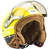 SOXON SP-325-PLUS Yellow Demi-Jet Mofa Chopper Casque Jet Vintage Vespa Scooter Bobber Pilot Cruiser Helmet Moto Retro Biker, ECE certifiés, compris le sac de casque, Jaune, M (57-58cm)