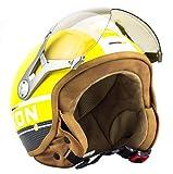 SOXON SP-325-PLUS Yellow · Pilot Vintage Roller-Helm Retro Biker Chopper Motorrad-Helm Jet-Helm Bobber Helmet Vespa-Helm Mofa Cruiser Scooter-Helm · ECE zertifiziert · inkl. Sonnenvisier · inkl. Stofftragetasche · Gelb · XL (61-62cm)