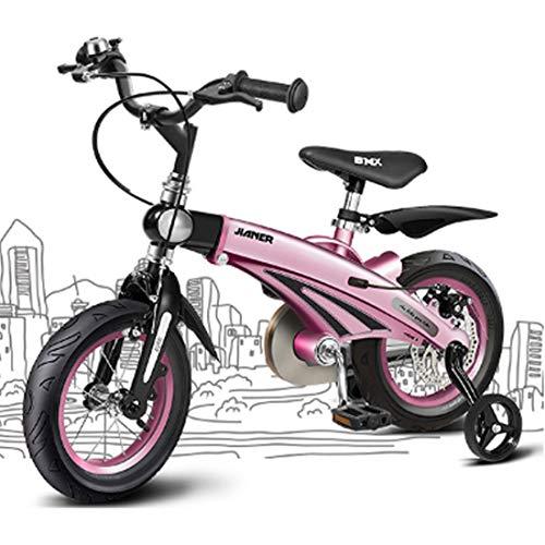 Unbekannt Kinderfahrrad Kinderfahrrad Ultralight Kinder Fahrrad Mit Stützrädern Magnesiumlegierung Kinderfahrrad 12/14/16 Zoll Kinder-Fahrrad (Color : Pink, Size : 16inch)