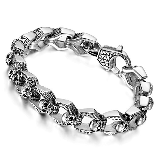 Flongo Herren Armband Herrenkette, Edelstahl Armband Armreif Link Handgelenk Silber Schwarz...