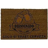 Koko Doormats Felpudo con Diseño Traes Cerveza, PVC, Coco, 40 x 60 cm