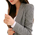DUee Womens Oversize Cozy Mid-Long Houndstooth Coat Jacket Suit