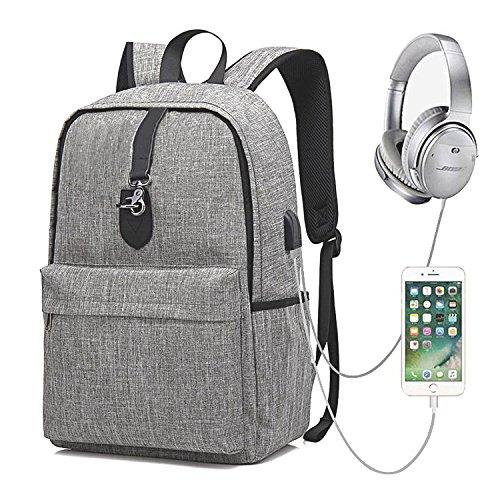 GEARGO Mochila para Portátil de 15.6 Pulgadas Backpack Impermeable Anti-Robo Mochila Casual con Puerto de Carga USB para Hombre y Mujer Estudiante